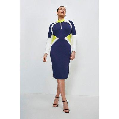 Karen Millen Curve Colour Block Zip Neck Ponte Dress -, Navy