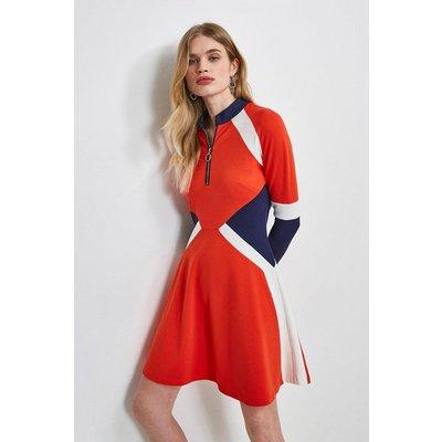 Karen Millen Colour Block Zip Ponte Dress -, Navy
