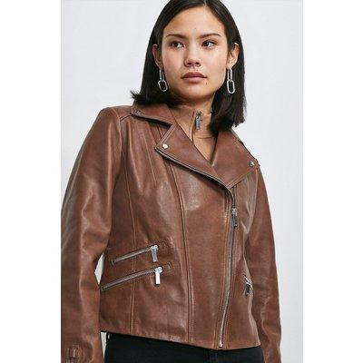Karen Millen Leather Signature Jacket -, Brown