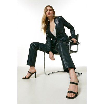 Karen Millen Leather Seam Detail Trouser -, Navy