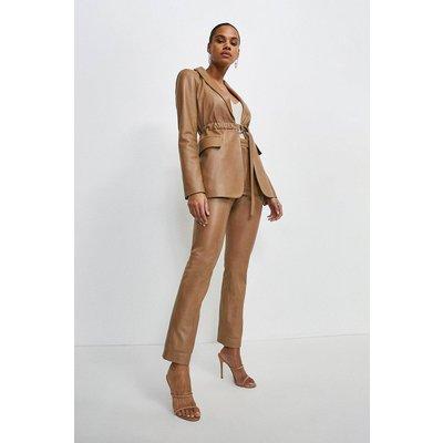Karen Millen Leather Seam Detail Trouser -, Tan