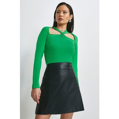 Karen Millen Viscose Jersey Cut Out Top -, Bright Green