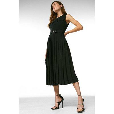 Karen Millen Pleated Wrap Skirt Belted Dress -, Black