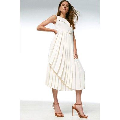 Karen Millen Pleated Wrap Skirt Belted Dress -, Cream