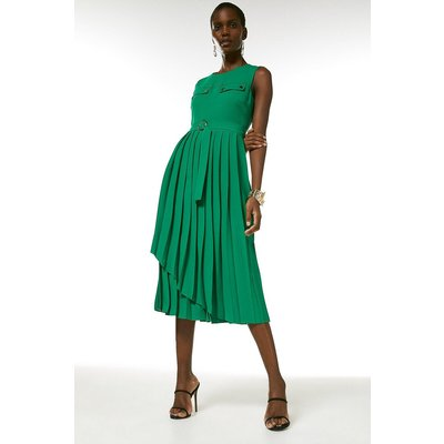 Karen Millen Pleated Wrap Skirt Belted Dress -, Green