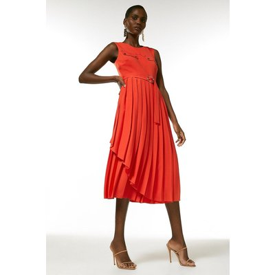 Karen Millen Pleated Wrap Skirt Belted Dress -, Red