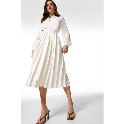 Karen Millen Pleated D Ring Wrap Midi Skirt -, Cream