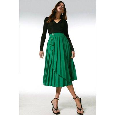 Karen Millen Pleated D Ring Wrap Midi Skirt -, Green