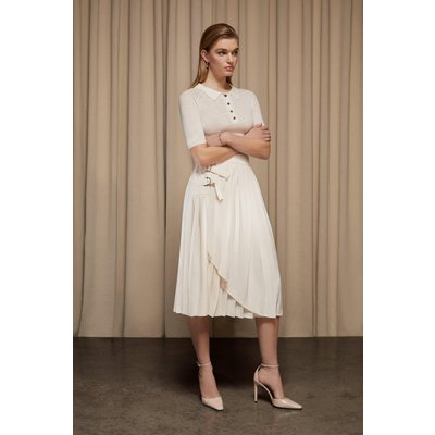 Karen Millen Pleated D Ring Wrap Midi Skirt -, Ivory