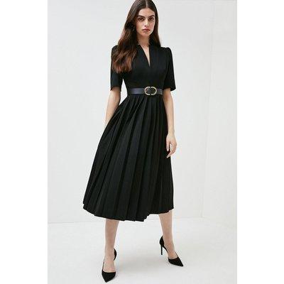 Karen Millen Structured Crepe Forever Pleated Midi Dress -, Black
