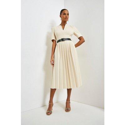 Karen Millen Structured Crepe Forever Pleated Midi Dress -, Ivory