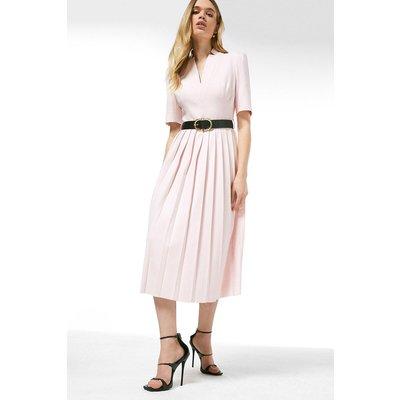 Karen Millen Structured Crepe Forever Pleated Midi Dress -, Navy