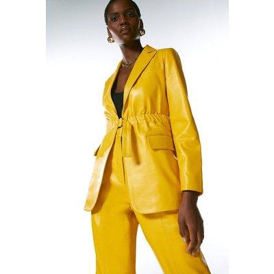 Karen Millen Leather D Ring Belted Blazer -, Yellow