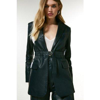 Karen Millen Leather D Ring Belted Blazer -, Navy