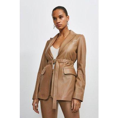 Karen Millen Leather D Ring Belted Blazer -, Tan