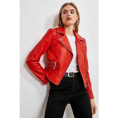Karen Millen Leather Signature Single Zip Biker Jacket -, Red