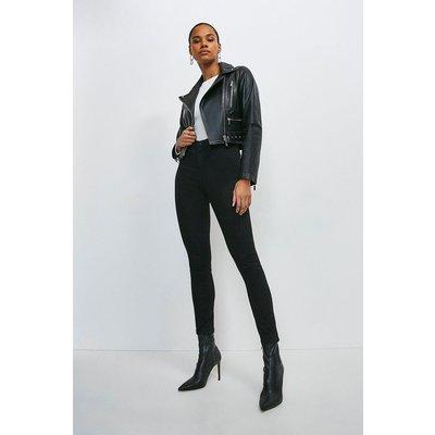 Karen Millen Leather Crop Biker Belted Jacket -, Black