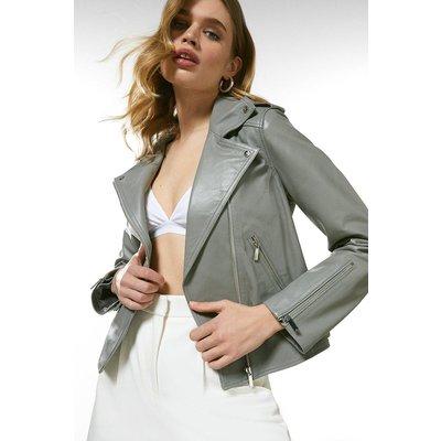 Karen Millen Leather Ultimate Biker Jacket -, Grey