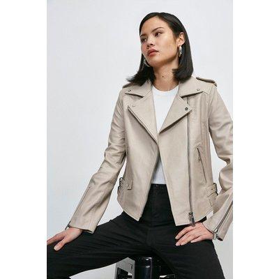 Karen Millen Leather Ultimate Biker Jacket -, Nude