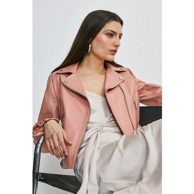 Karen Millen Leather Stitch Detail Moto Biker Jacket -, Pink