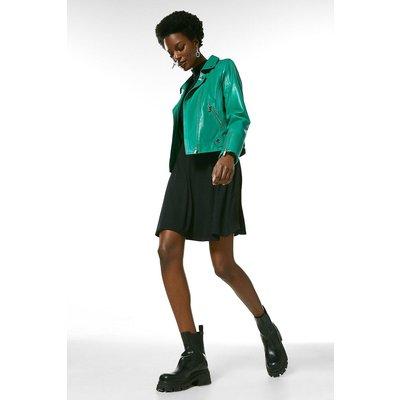Karen Millen Leather Stitch Detail Moto Biker Jacket -, Bright Green