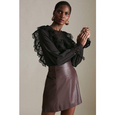 Karen Millen Cotton Broderie Ruffle Jersey Top -, Black
