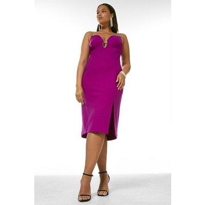 Karen Millen Curve Bodycon Diamante Trim Midi Dress -, Purple