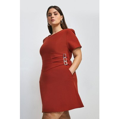 Karen Millen Curve Compact Stretch Buckle A Line Dress -, Orange