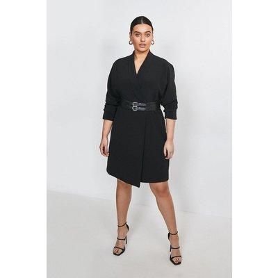 Karen Millen Curve Viscose Satin Crepe Belted Dress -, Black