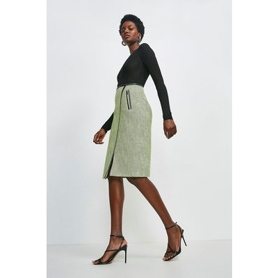 Karen Millen Neon Tweed Pencil Skirt -, Green