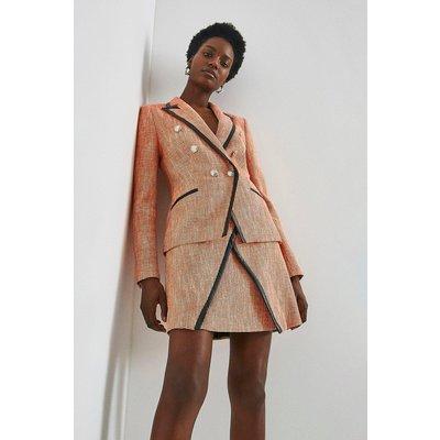 Karen Millen Neon Tweed Military Jacket -, Orange