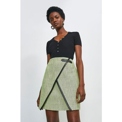 Karen Millen Neon Tweed A Line Skirt -, Green