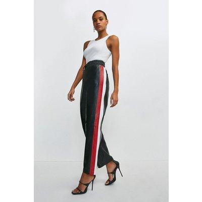 Karen Millen Leather Side Stripe Jogger -, Black