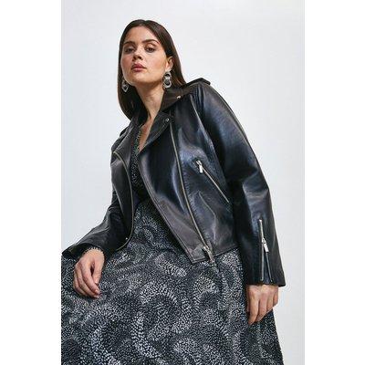Karen Millen Curve Leather Ultimate Biker Jacket -, Black