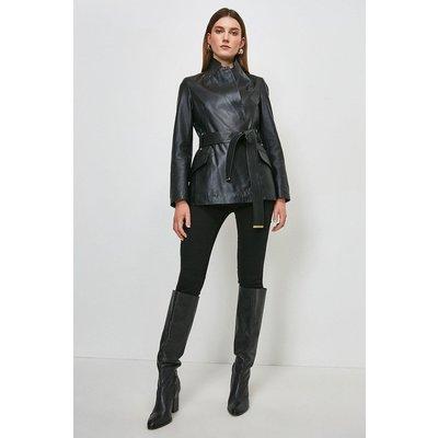 Karen Millen Leather  Notch Neck Short Coat -, Black