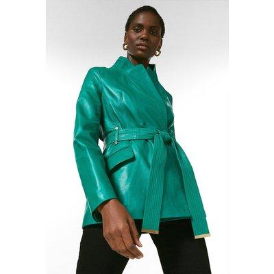 Karen Millen Leather  Notch Neck Short Coat -, Bright Green