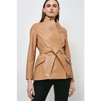 Karen Millen Leather  Notch Neck Short Coat -, Camel