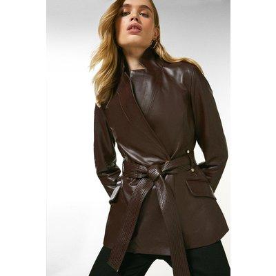 Karen Millen Leather  Notch Neck Short Coat -, Fig