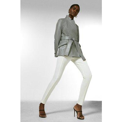 Karen Millen Leather  Notch Neck Short Coat -, Grey