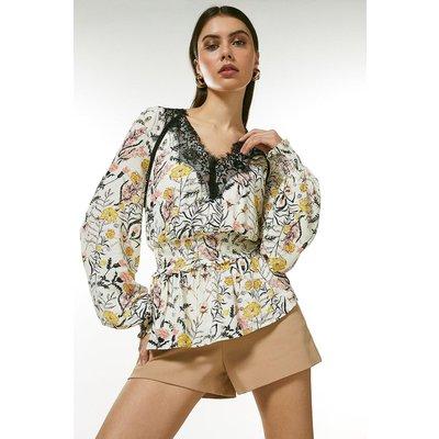 Karen Millen Lace Trim Blouse With Shirred Waist -, Floral