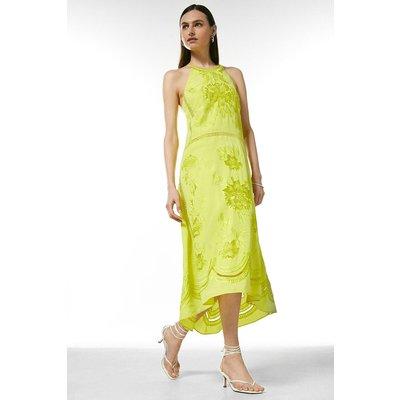 Karen Millen Embroidered Cross Back Halter Midi Dress -, Green