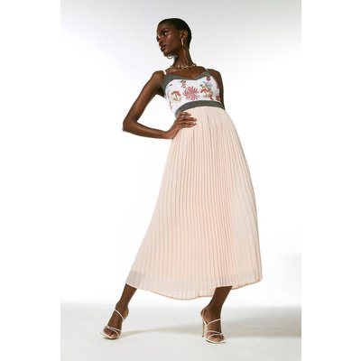 Karen Millen Embroidered And Beaded Pleat Midi Dress -, Pink