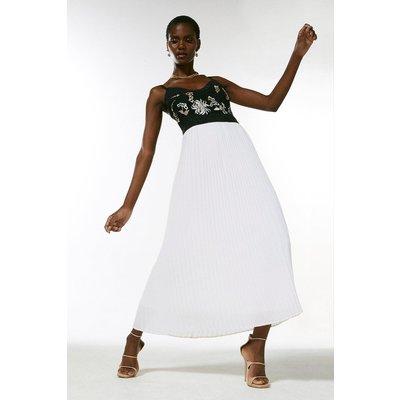 Karen Millen Embroidered And Beaded Pleat Midi Dress -, Mono