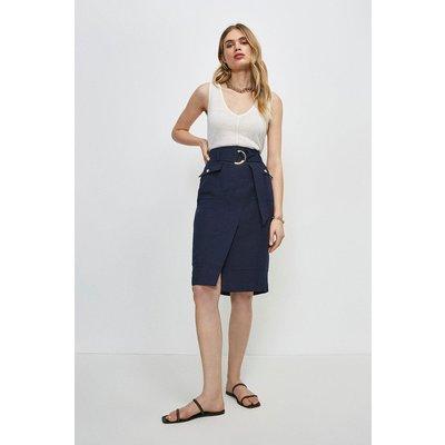 Karen Millen Linen Blend Stitch Detail Wrap Pencil Skirt -, Navy