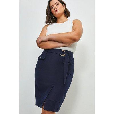 Karen Millen Curve Linen Blend Stitch Detail Pencil Skirt -, Navy
