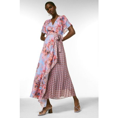 Karen Millen Soft Floral Pleat Woven Wrap Midi Dress -, Light Blue