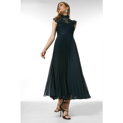 Karen Millen Guipure Lace Pleated Midi Dress -, Navy