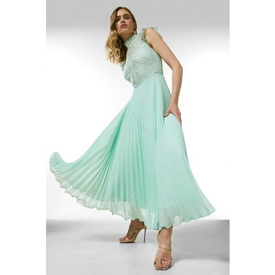 Karen Millen Guipure Lace Pleated Midi Dress -, Sage