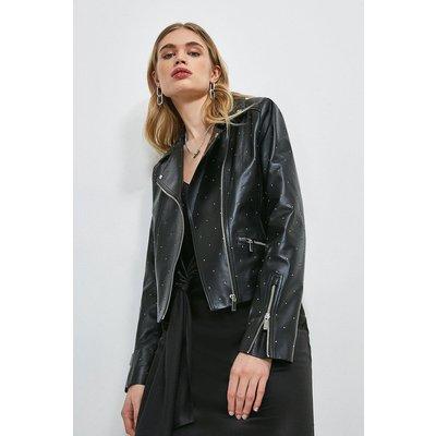 Karen Millen Leather Studded Signature Biker Jacket -, Black