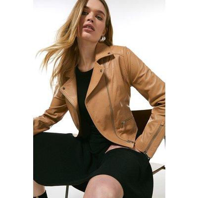 Karen Millen Leather Studded Signature Biker Jacket -, Tan